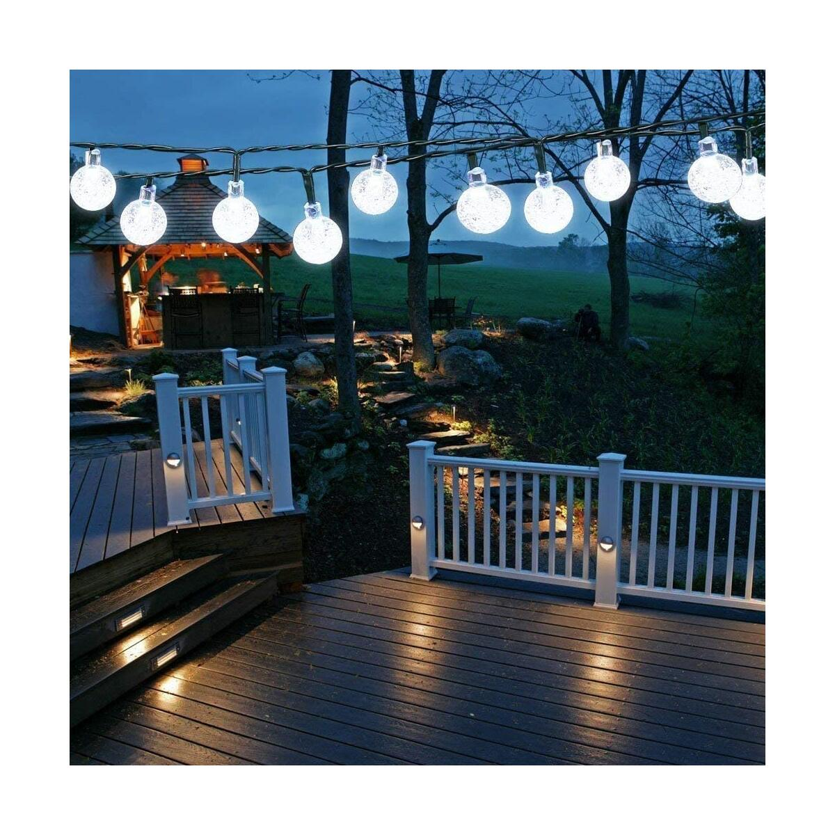 Solar String Lights Outdoor, 50LED 7M/24Ft Solar Garden Light Waterproof, 8 Modes Indoor/Outdoor Fairy Lights Globe for Garden, Patio, Yard, Home, Party, Wedding, Festival Decoration (Clear White)