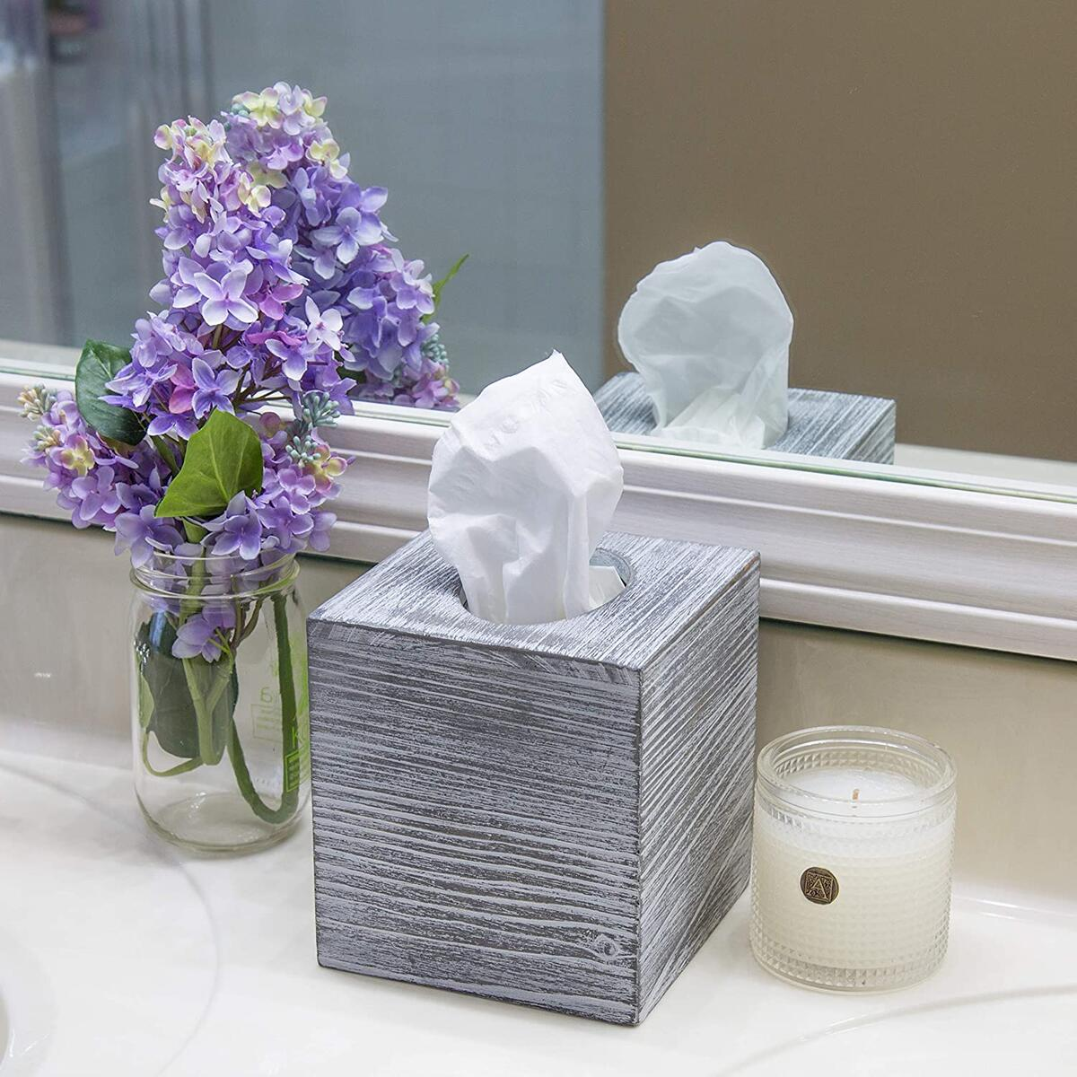 Daisy's House Square Tissue Box Cover for Rustic Home Decor – Wooden Tissue Holder Made of Reclaimed Barnwood with Distressed Gray Wash – Slips Over Cube Facial Tissue Box