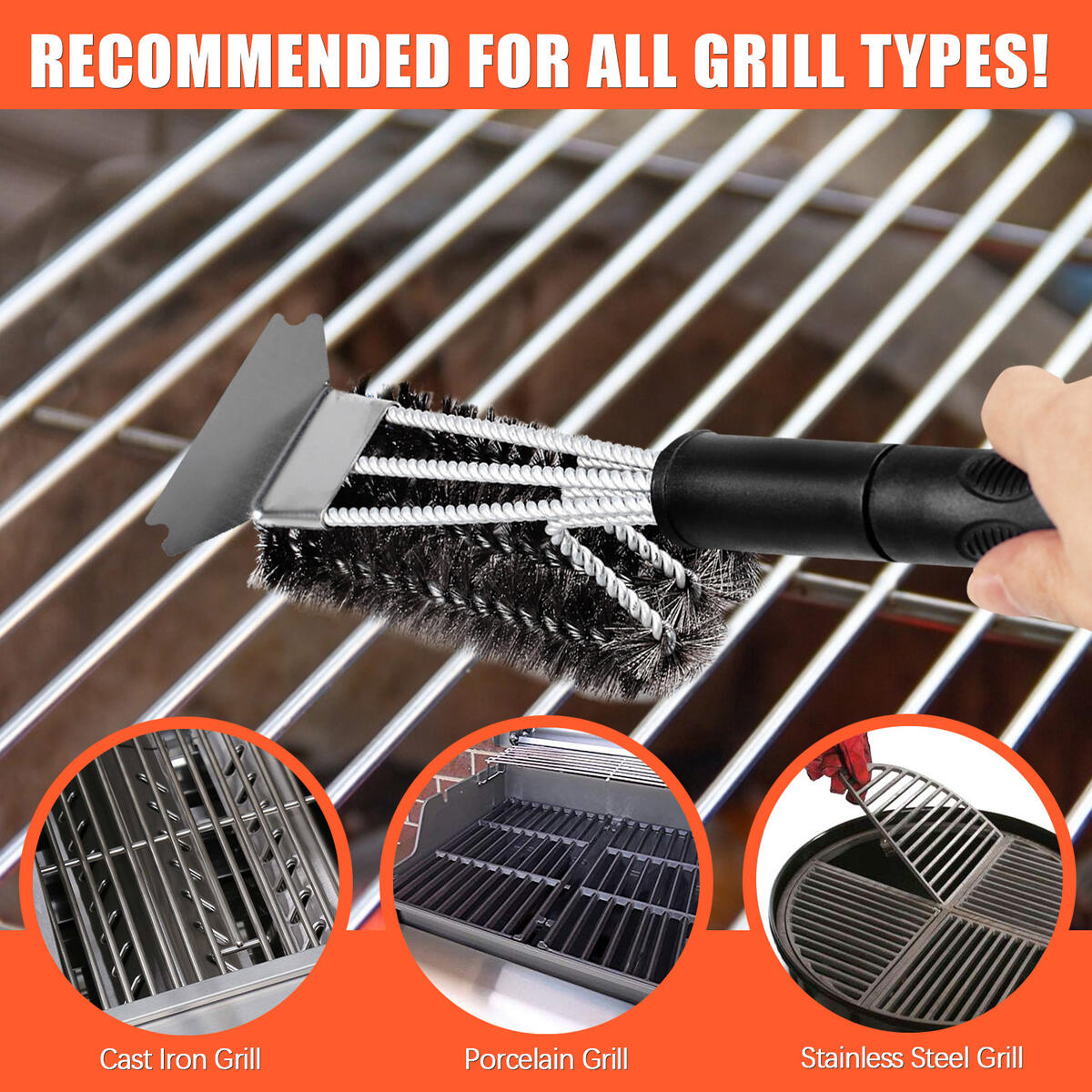 Royor Grill Brush and Scraper Bristle Free, Stainless Steel Bristles Grill Cleaner, Grill Cleaning Brush for Gas Grill - Flex-Grip Handle, Ideal BBQ Grill Accessories(Black 19.5'')