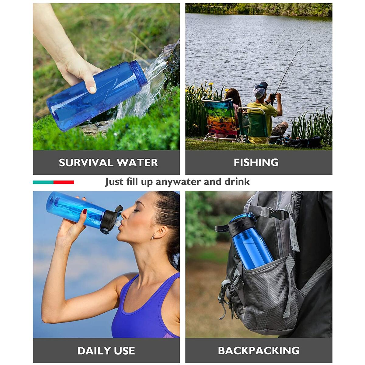Membrane Solutions Tritan Water Filter Bottle - Portable Water Bottle with 4-Stages Filtration System/Straw for Camping, Survival, Backpacking Travel Climbing, Sports & Bike, BPA-Free, 22 Ounce, Blue