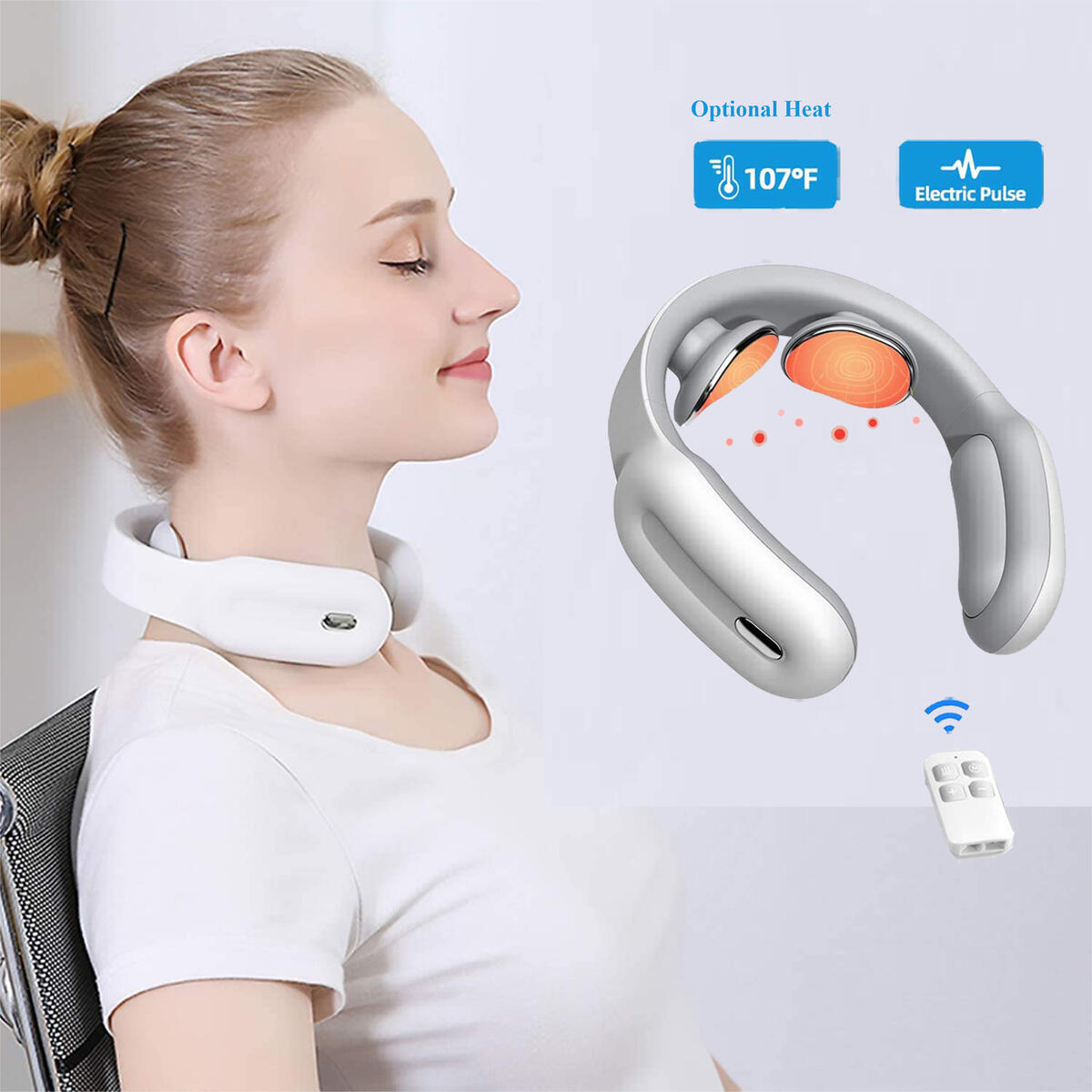 Intelligent Neck Massager with Heat - Deep Tissue Massager for Neck Pain Relief, 3 Modes 15 Speeds Ergonomic Handheld Massager, Electric Pulse Neck Massage for Women and Men