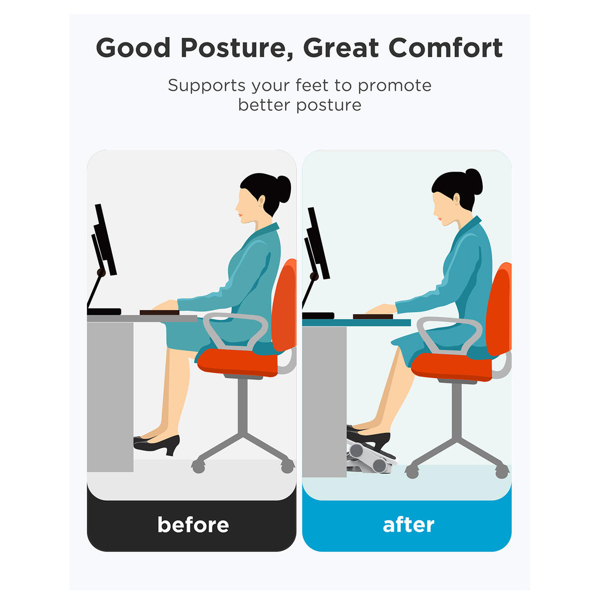 AboveTEK Ergonomic Footrest with 2 Adjustable Height Positions, 30 Degree Tilt Angle, Under Desk Foot Rest for Home & Office Desk Accessories, Non-Skid Feet for Stability, Black & Gray Foot Stool