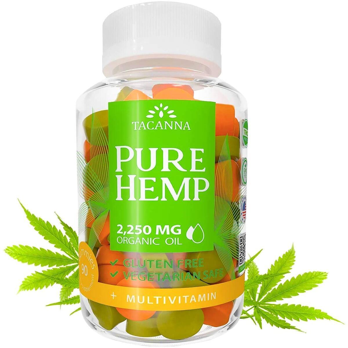 Tacanna Natural Hemp Gummies - Ultra Volume 4500Mg - 2 Bottles - 180pcs - Premium Hemp Extract - Relieve Stress, Pain and Anxiety -Brain Boost - Immune Support - Omega 3 6 9 Multivitamin