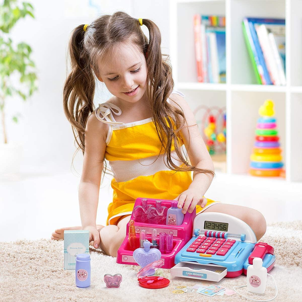 Shop N' Play Beauty Salon Cash Register Playset for Girls w/ Pretend Play Calculator, Money, Scanner, Credit Card & Makeup, Realistic Actions & Sounds, Educational Counting Toy for Kids 2-6 Years Old