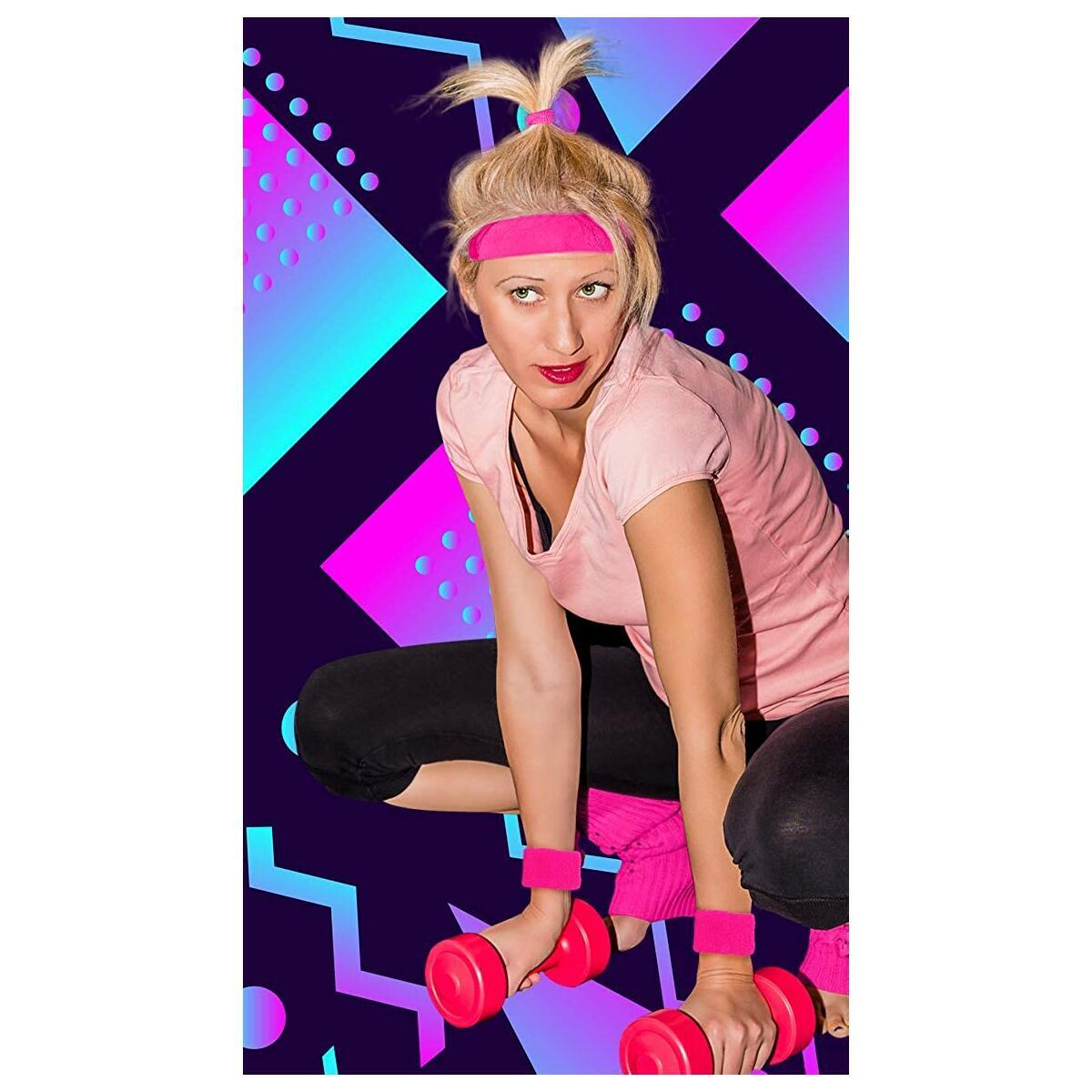 80s Workout Costumes for Women   80s Accessories for Women   80s Leg Warmers Set Neon Pink