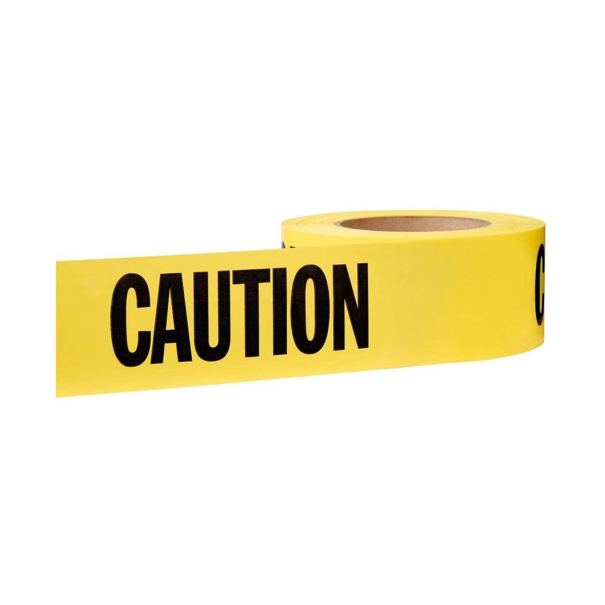 Premium Grade Vivid Yellow Caution Tape, Large 3 Inch Wide x 1000 Feet Long, Thick & Durable, Bright Yellow Ribbon & Bold Black Text, Warning Tape with Maximum Readability, For Danger/Hazardous Areas