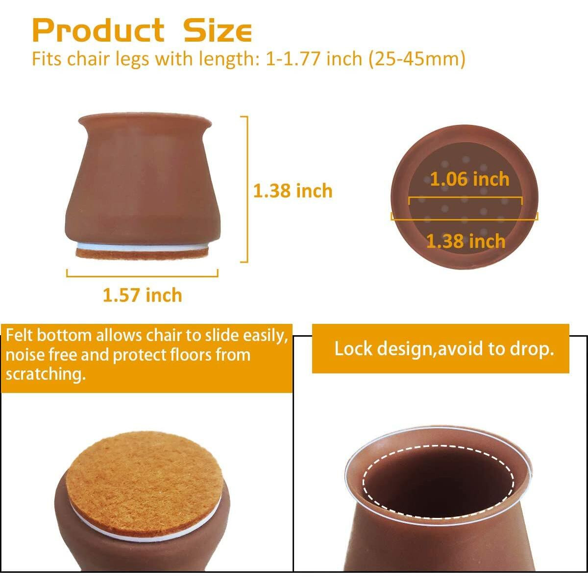16 Pack Chair Leg caps, Silicone Chair Leg Floor Protectors Furniture Protection Cover with Felt Pads Anti-Slip Chair Floor Pads for Round or Square (Coffee)