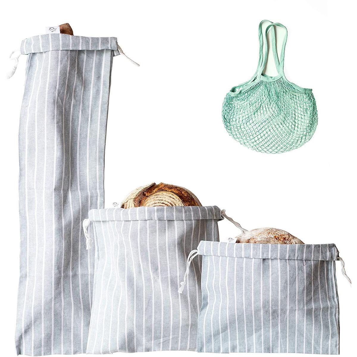 Bread Bags for Homemade Bread, Set of 3 Reusable Linen Bread Storage Bags with Ties + Gift Produce Bag for Groceries, Organic Bread Bags for Keeping Baguettes, Artisan Bread Fresh