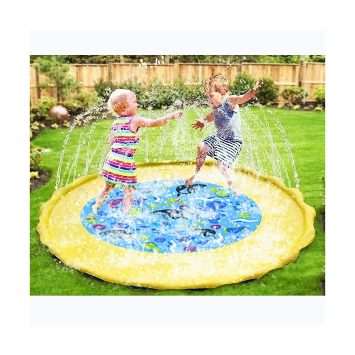 Splash Play Mat - SOWOW Outdoor Water Play Sprinklers,Summer Fun Backyard Play for Infant and Kids,Sprinklers for Outside,Splash Pad for Toddler,Baby Pool 60