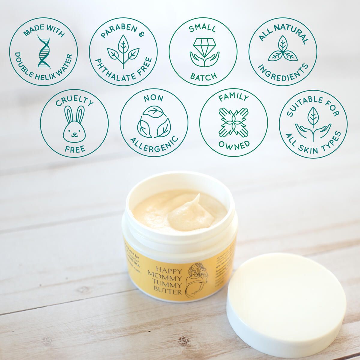 Stretch Mark Prevention Cream for Pregnancy, Stretch Mark Tummy Butter for Pregnancy Skincare, All Natural Organic Belly Cream with Double Helix Water (1 oz)…