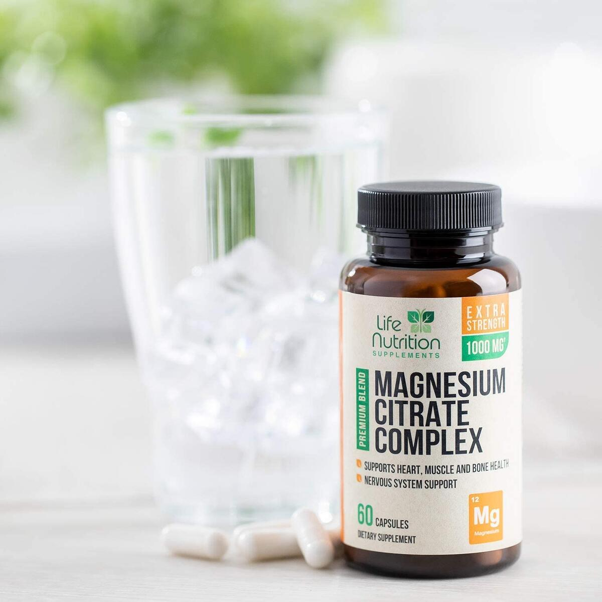 Magnesium Citrate Capsules Highest Potency 1000mg - 100% Chelated for High Absorption - Made in USA - Best Vegan Stress Relief, Sleep, Muscle Relaxation, Bone, Joint, Heart Supplement - 60 Capsules