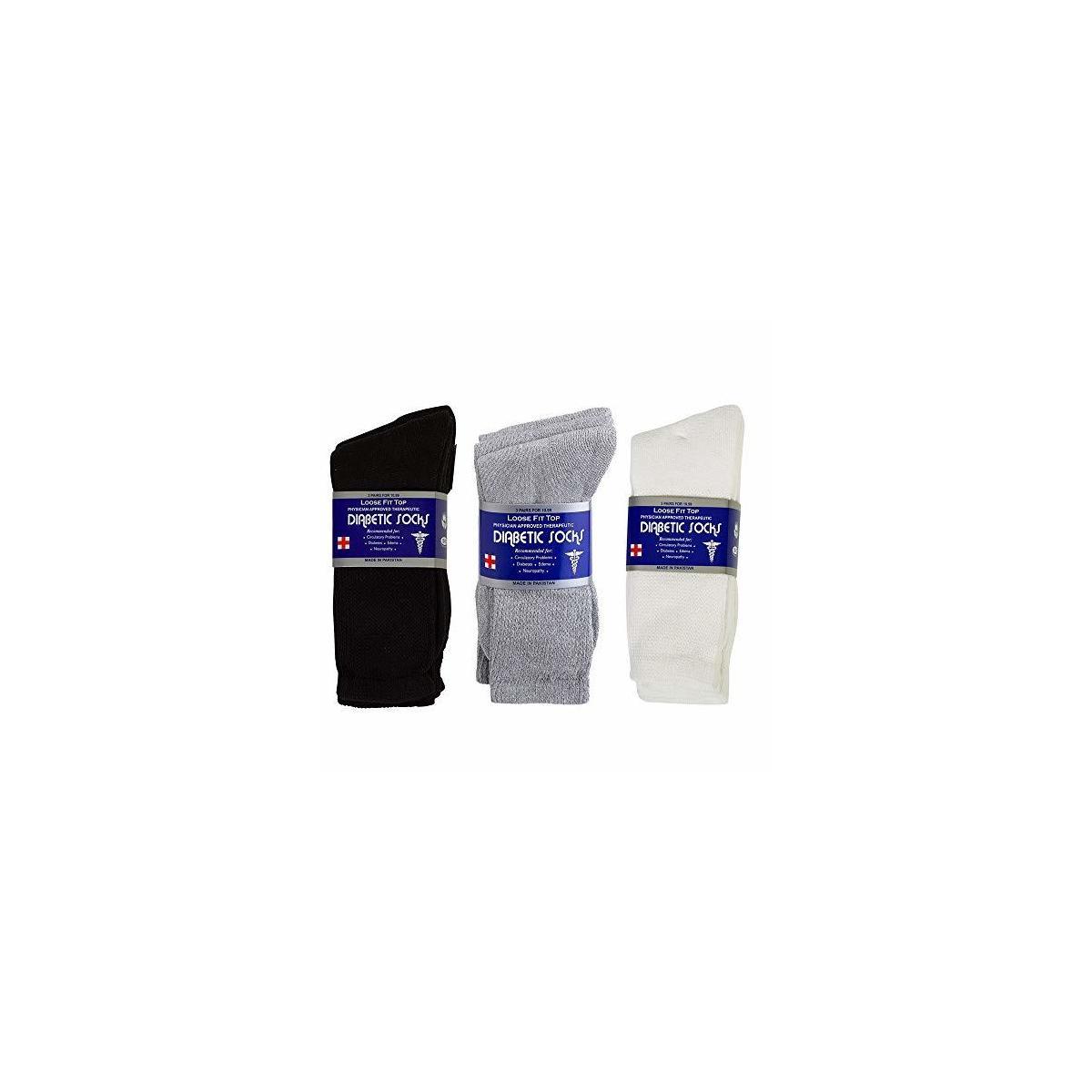 Diabetic Socks for Men/Women 6 Pairs Crew Socks by Debra Weitzner REBATE APPLIES TO BLACK 13-15