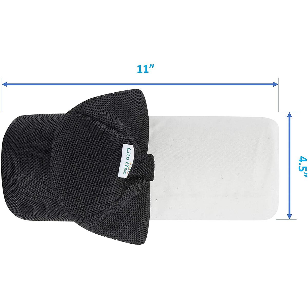 LitoTree Lumbar Roll for Back Support - 100% Memory Foam - Optimized Firmness - 11 Inches Long with 4.5 Inches Diameter - Breathable Mesh Lumbar Pillow Cover - for Comfortable Alignment and Support
