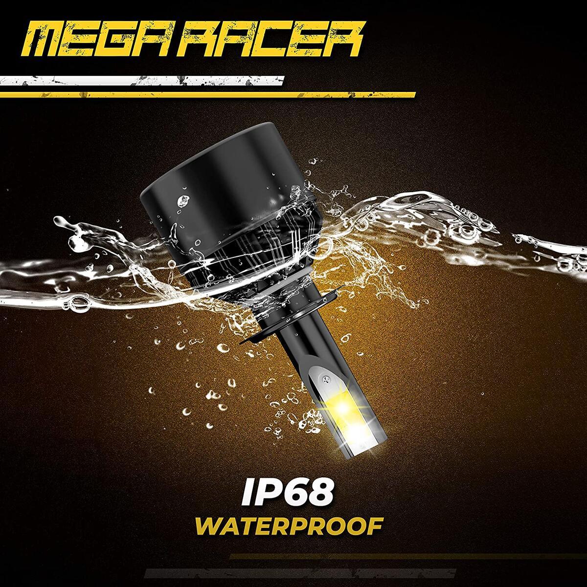 Mega Racer H7 Fog Light Bulb, 3 Changeable Colors for Fog Light Replacement Bulb (6000K Diamond White, 3000K Golden Yellow, 4300K Warm White), 50W 8000 Lumens COB IP68, Pack of 2