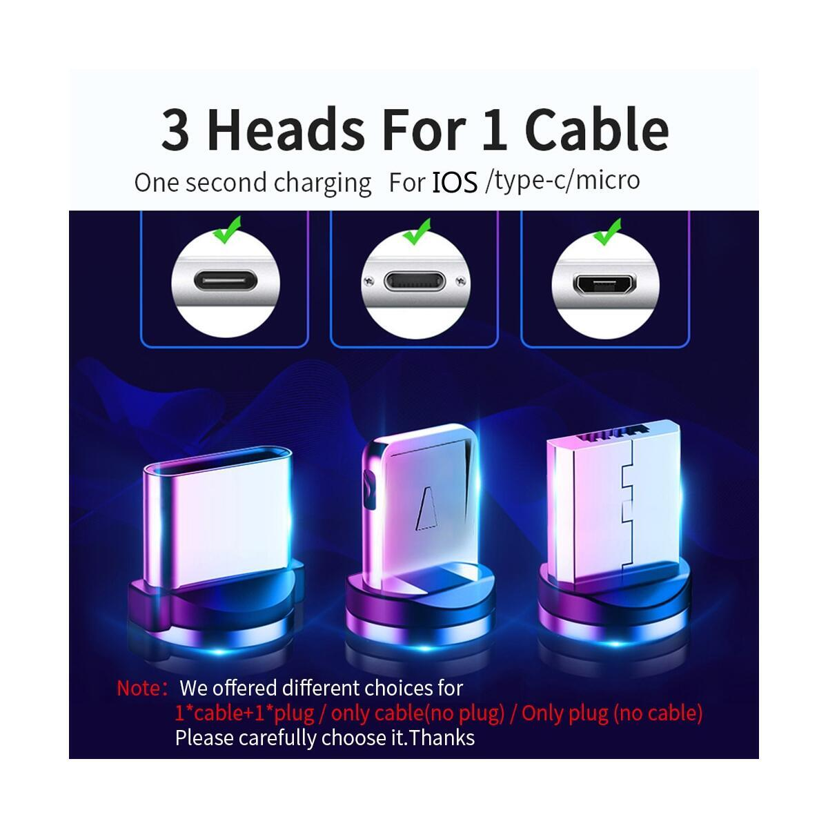3 in 1 Magnetic Charging Cable,3A Fast Charging Nylon Braided Cord, Support Data Trasfer, Universal Magnet Phone Charger with Micro-USB Type-C i0S Device, iPhone and Android  (Black, 1Pack-3.3ft)
