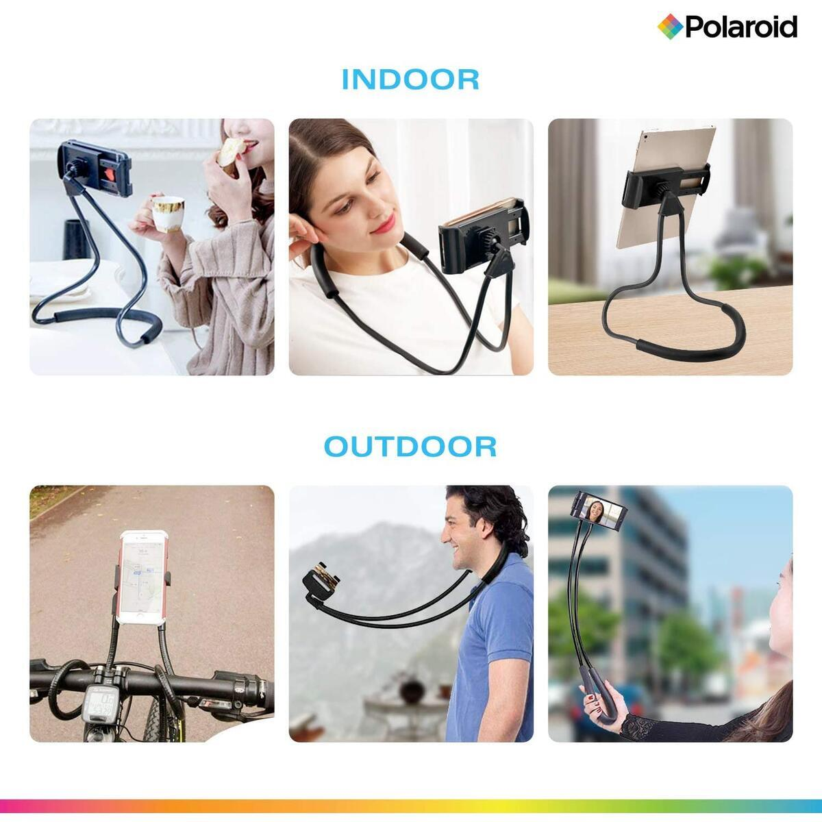 Polaroid Flexible Neck Phone Holder, Gooseneck Hands Free SmartPhone Mount – Adjustable Selfie Stick - Vlogging, Video Call, Streaming – Universal, Will Work with iPhone, iPad, Galaxy, Switch – Black