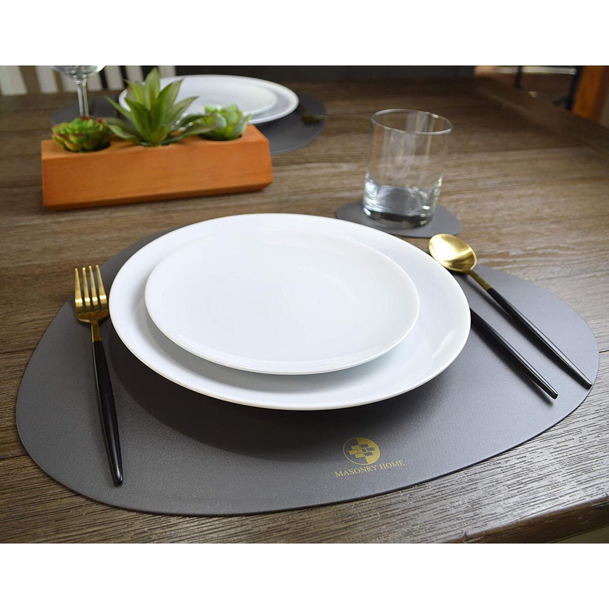 Masonry Home Synthetic Gray Leather Placemats and Coasters for Dining table (Set of 6) - 6 Place Mats and 6 Coasters for Drinks - Easy Clean, Waterproof, Washable, Durable - Table Mats for Kitchen