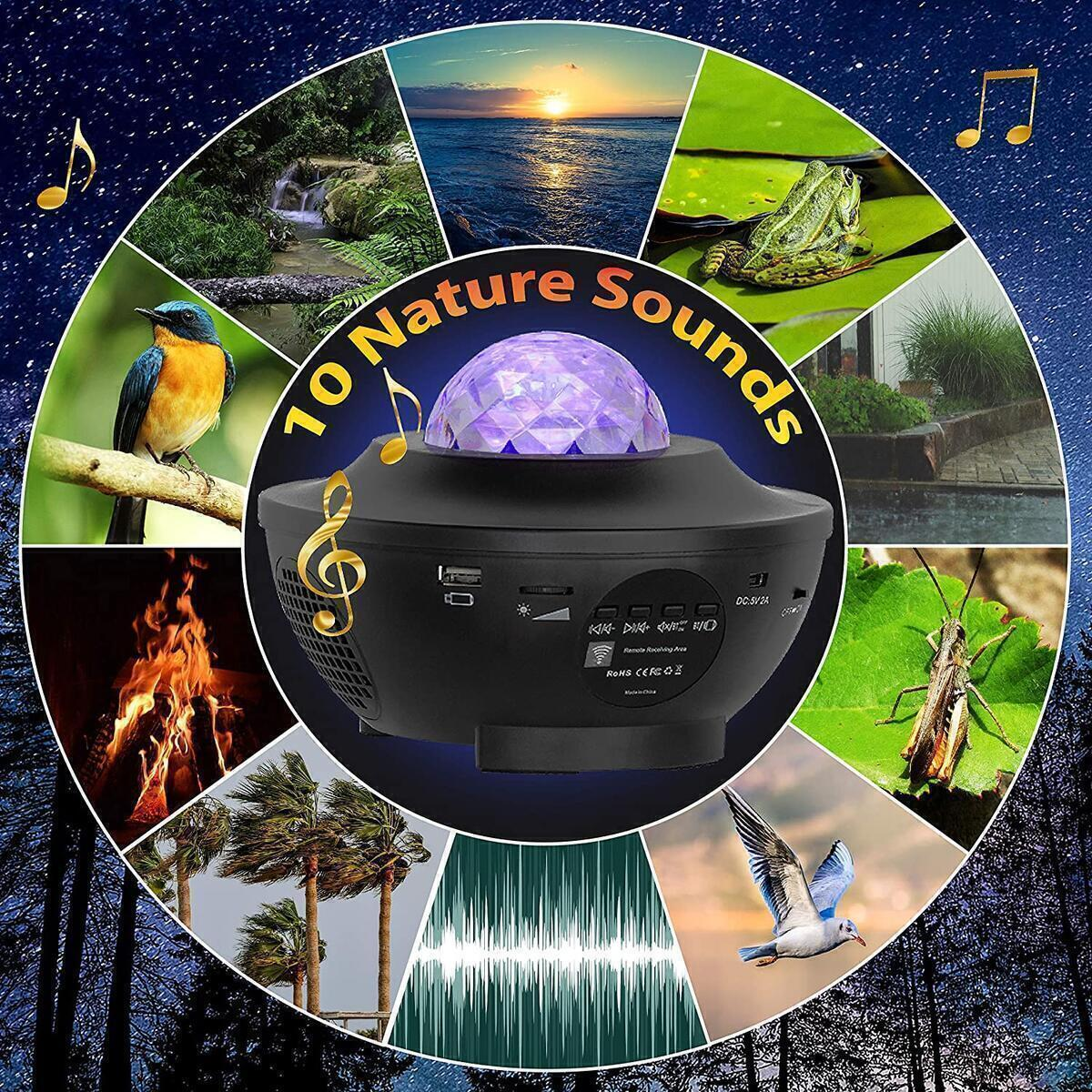 Star Projector Night Light LED Color Light Show Projector Starry Night Light Projector for Kids Adults Bedroom with Nature Sounds Night Sky Projector with Bluetooth Music Speaker for Party