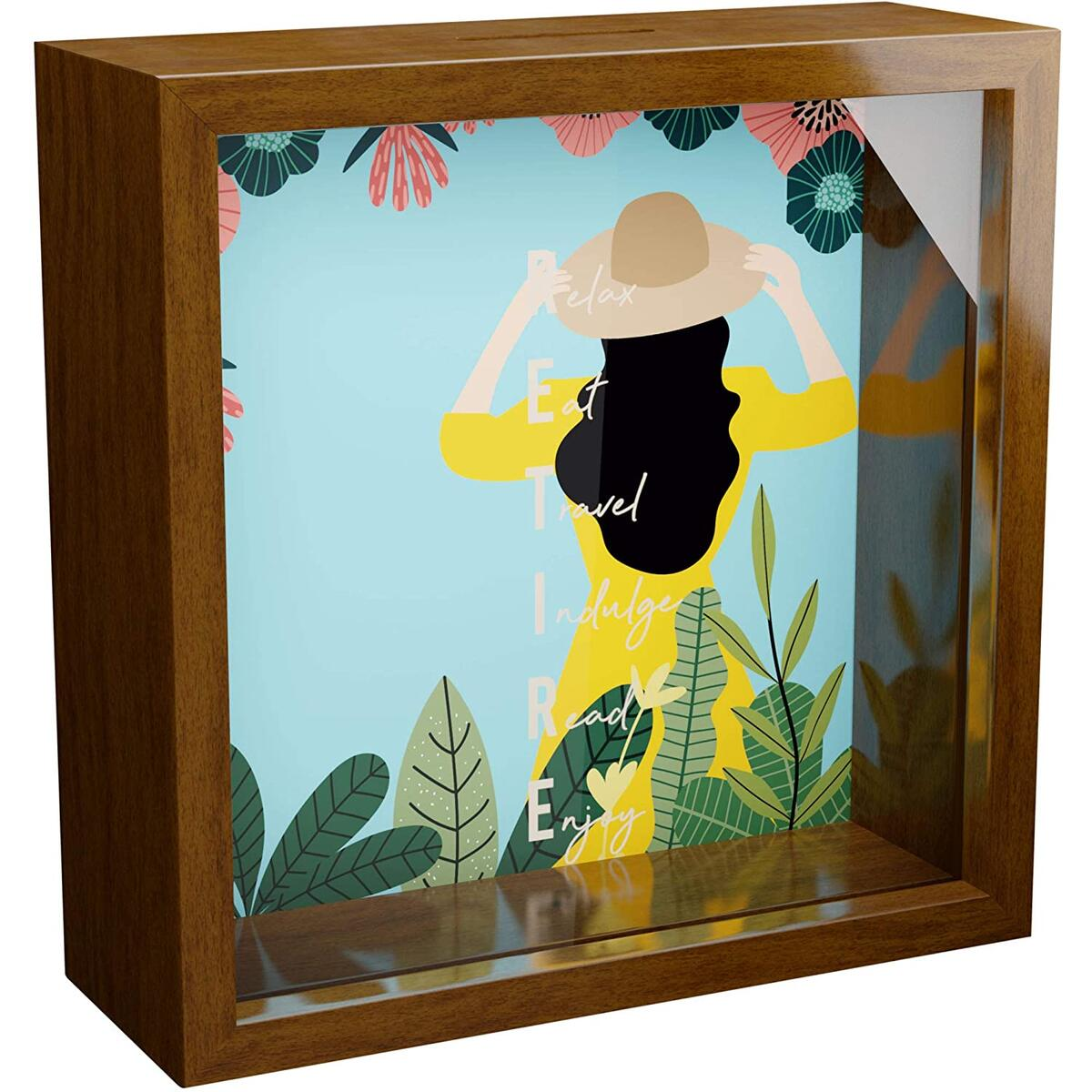 Retirement Gifts for Women | 6x6x2 Memorabilia Shadow Box with Glass Front | Wooden Keepsake for Wall Decor | Gift for Retired Women | Fun Memory Box | Special to Collect Memories