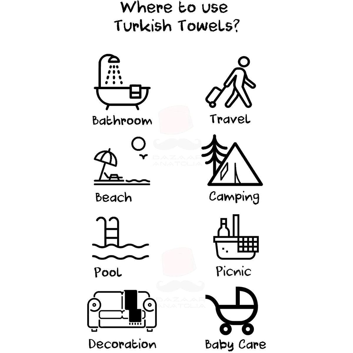Stripe Turkish Towel 100% Cotton Beach Towel 75x38