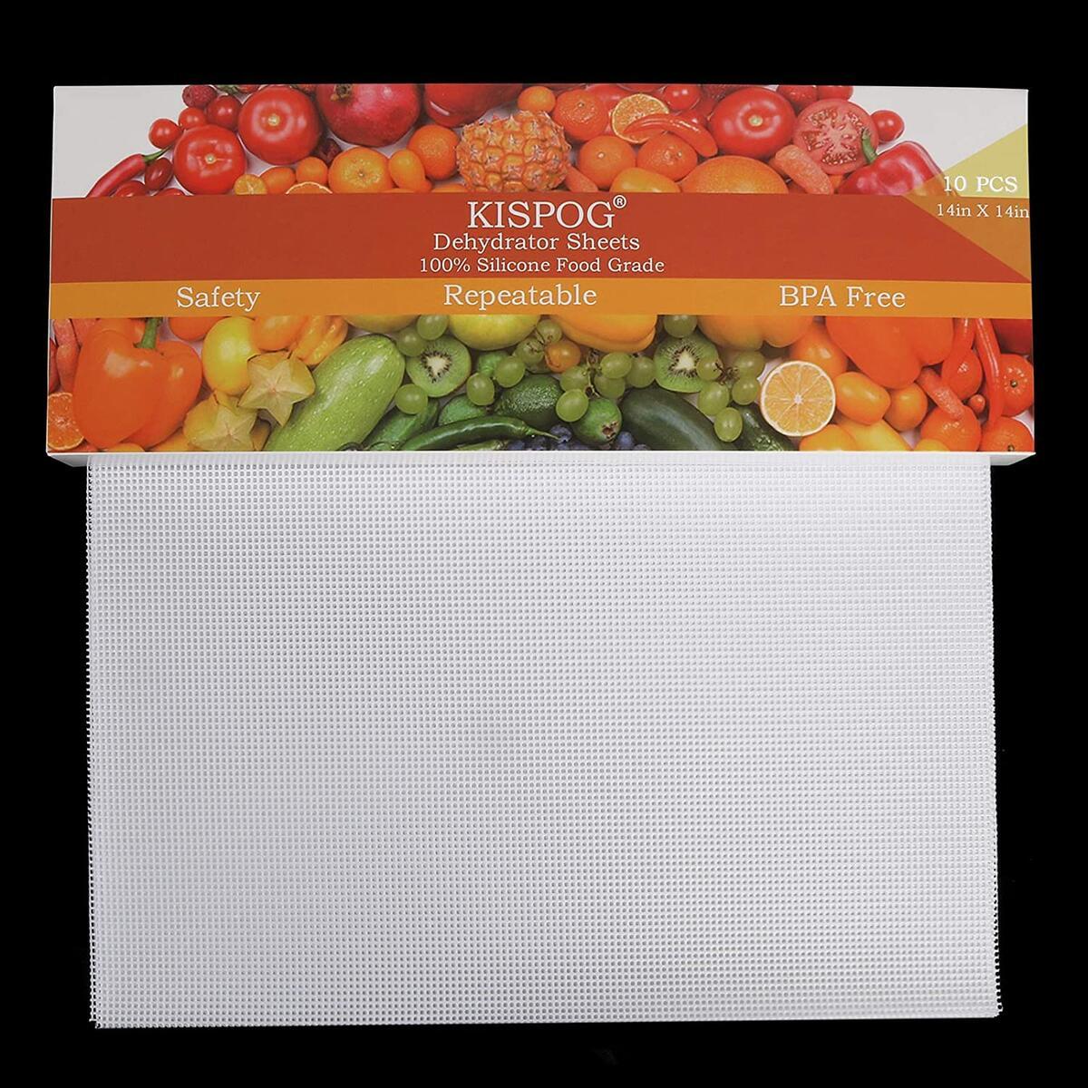 Kispog 10Pcs/Set Premium Non-Stick Silicone Dehydrator Sheets for Food Dehydrator Machine, 14x14 in