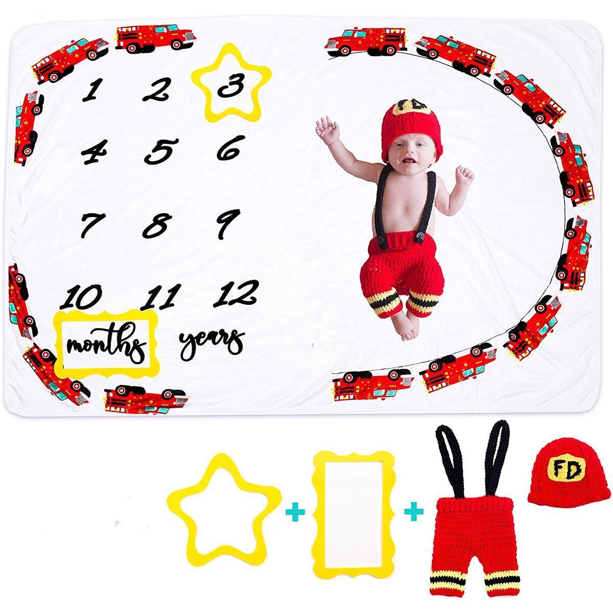 Cozy Snuggles Baby Monthly Milestone Blanket boy  | FREE  Fire Truck Costume + Star and Rectangular Felt Frames |