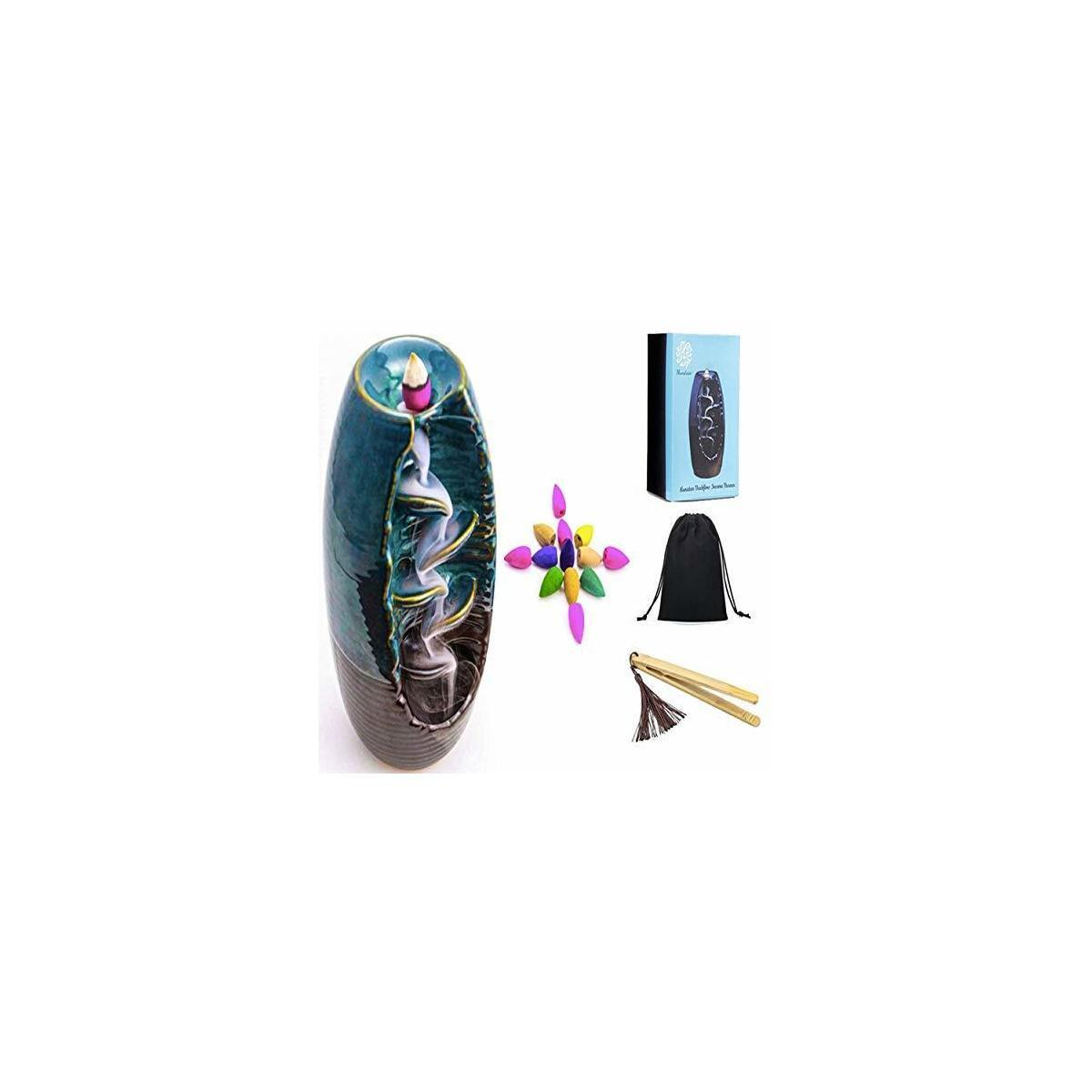 Munatass Ceramic Backflow Incense Holder +100 Free Incense Cones+Bamboo Tongs+Velvet Pouch-Handmade Waterfall Incense Burner Ornament Perfect for Aromatherapy, Home Decor, Yoga, Spa & Meditation