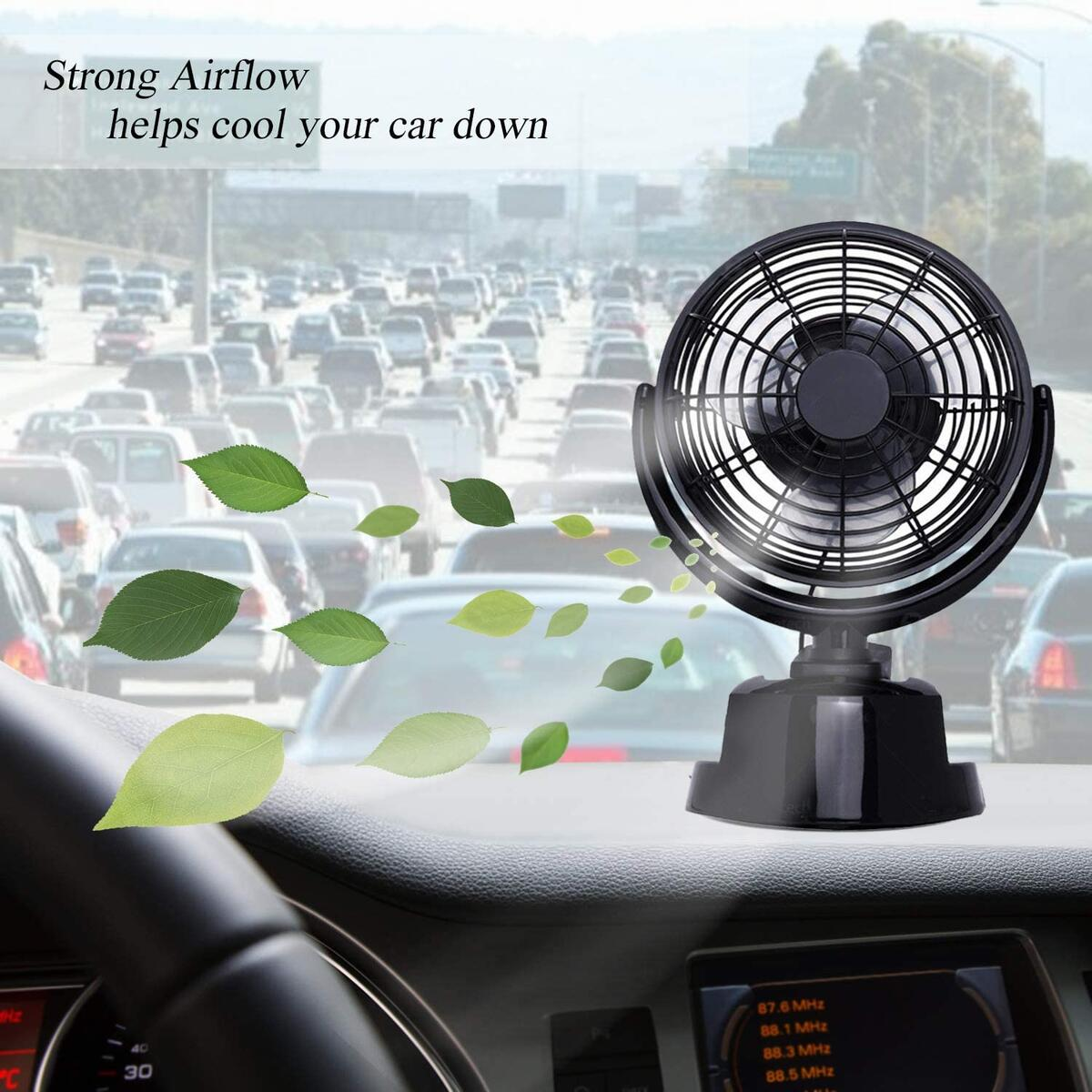 Zento Deals Premium Quality 12V Car Cooling Air Fan – 360°Rotation Battery or USB Chord Operated 12V Cooling Fan for Car