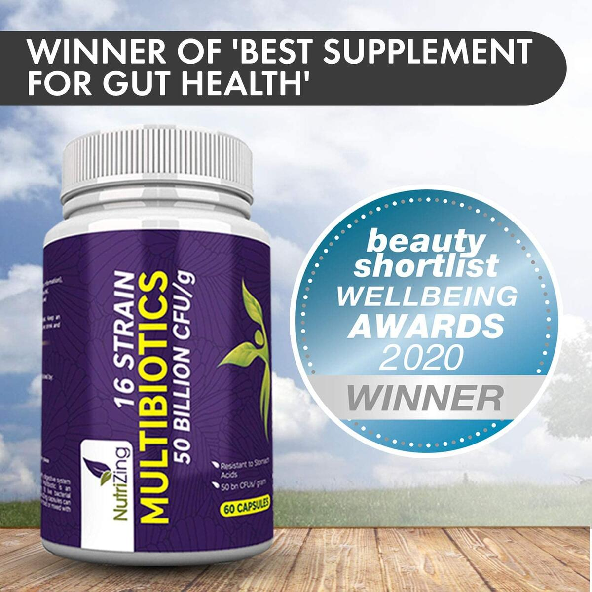 Advanced Probiotics with 16 Live Bacterial Strains - 30 Billion CFU per Serving - Best Supplement for Gut Health Award - Vegan Time Release Capsules by NutriZing - Shelf Stable - Contains Acidophilus