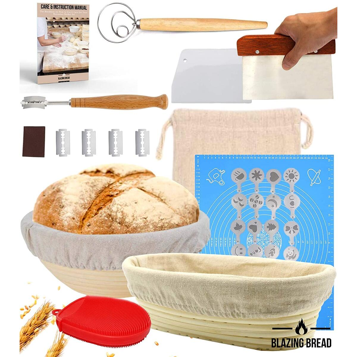 Complete Bread Proofing Basket Kit - Round & Oval Banneton Proofing Baskets for Sourdough, Bread Lame, Whisk, Dough Scraper