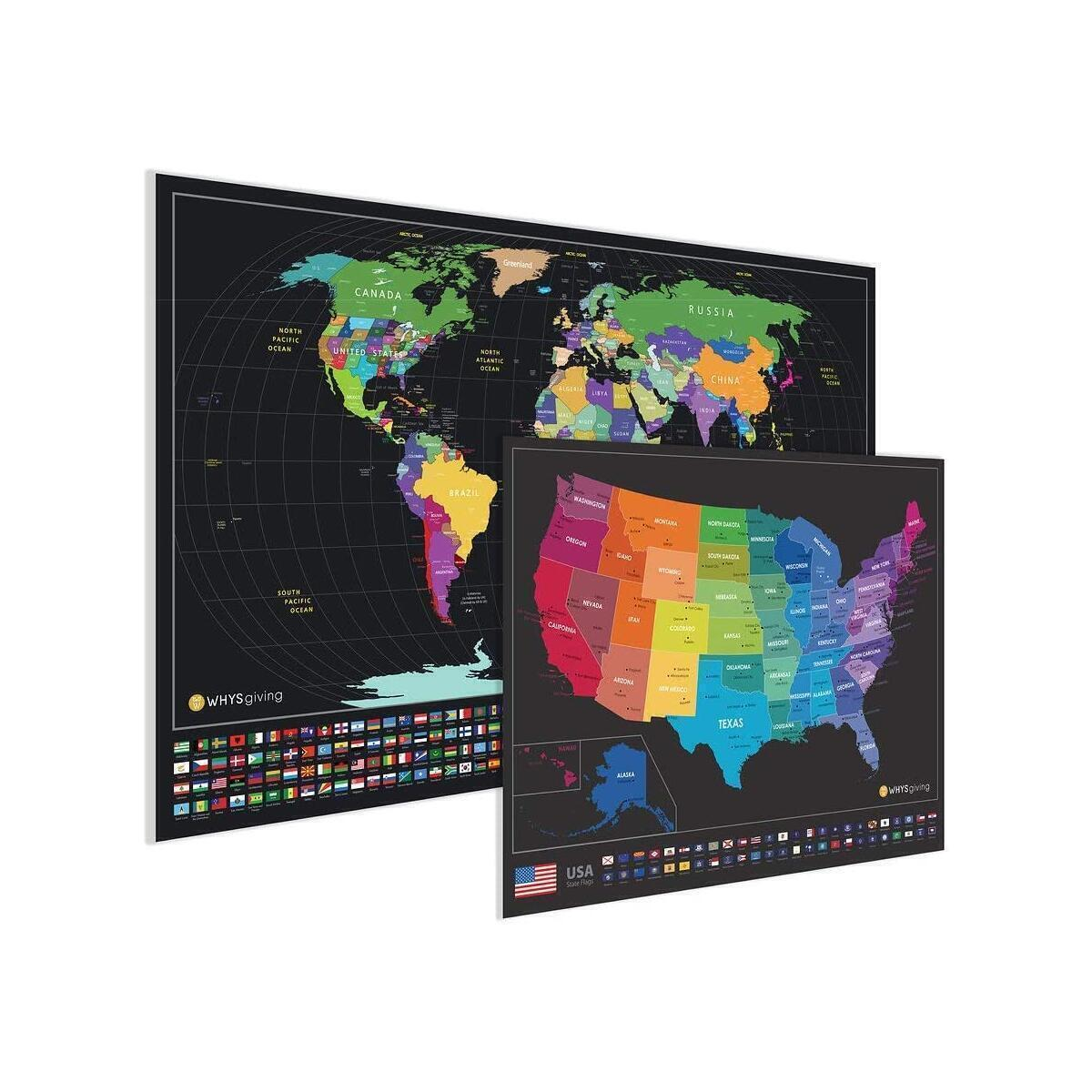 TWO Large Travel Scratch Off Maps