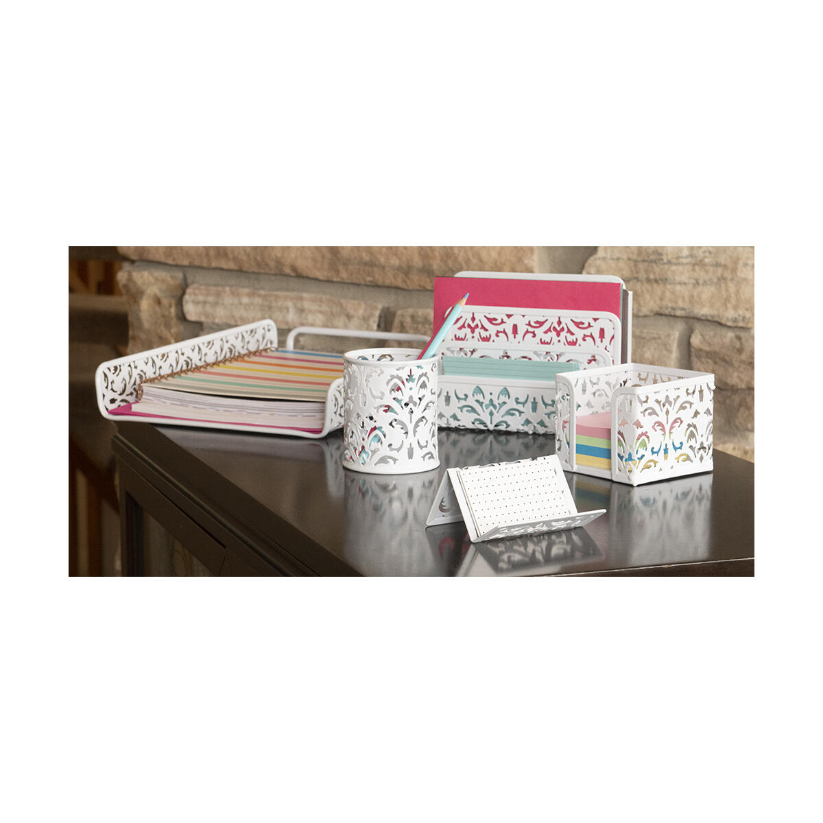 5 Piece Desk Organizer Set for Women and Girls - Choose from 4 style/color combinations