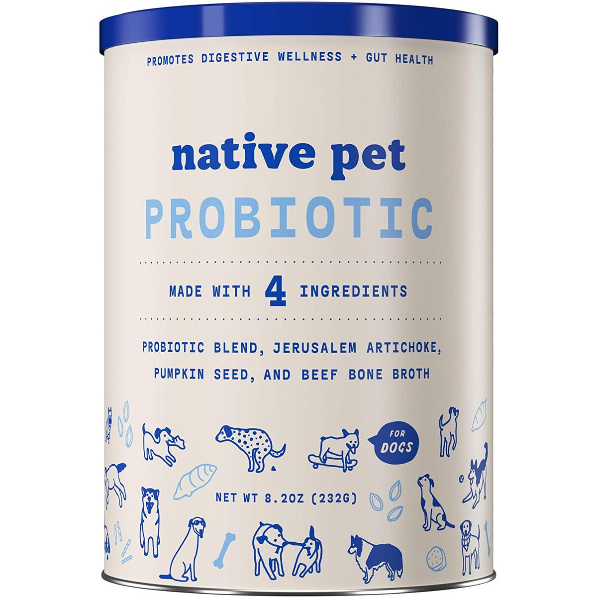 NATIVE PET PROBIOTIC FOR DOGS -- Our probiotic  supplement is the digestive support your dog needs! It manages healthy bacteria in the gut flora and includes 4 strains of probiotics, 2 types of prebiotic fiber, and savory beef bone broth for flavor!
