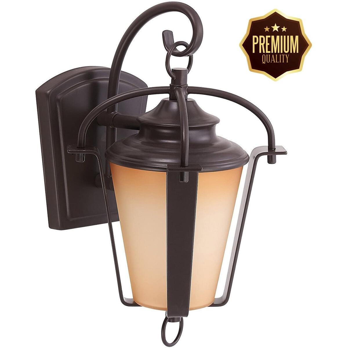 """LED Outdoor Lantern by Ciata Lighting –Wall Mounted Warm Light Fixture for Elegant Copper Bronze Finish –16""""Energy EfficientLighting with Weatherproof Steel Frame & Amber Alabaster Glass Lens"""