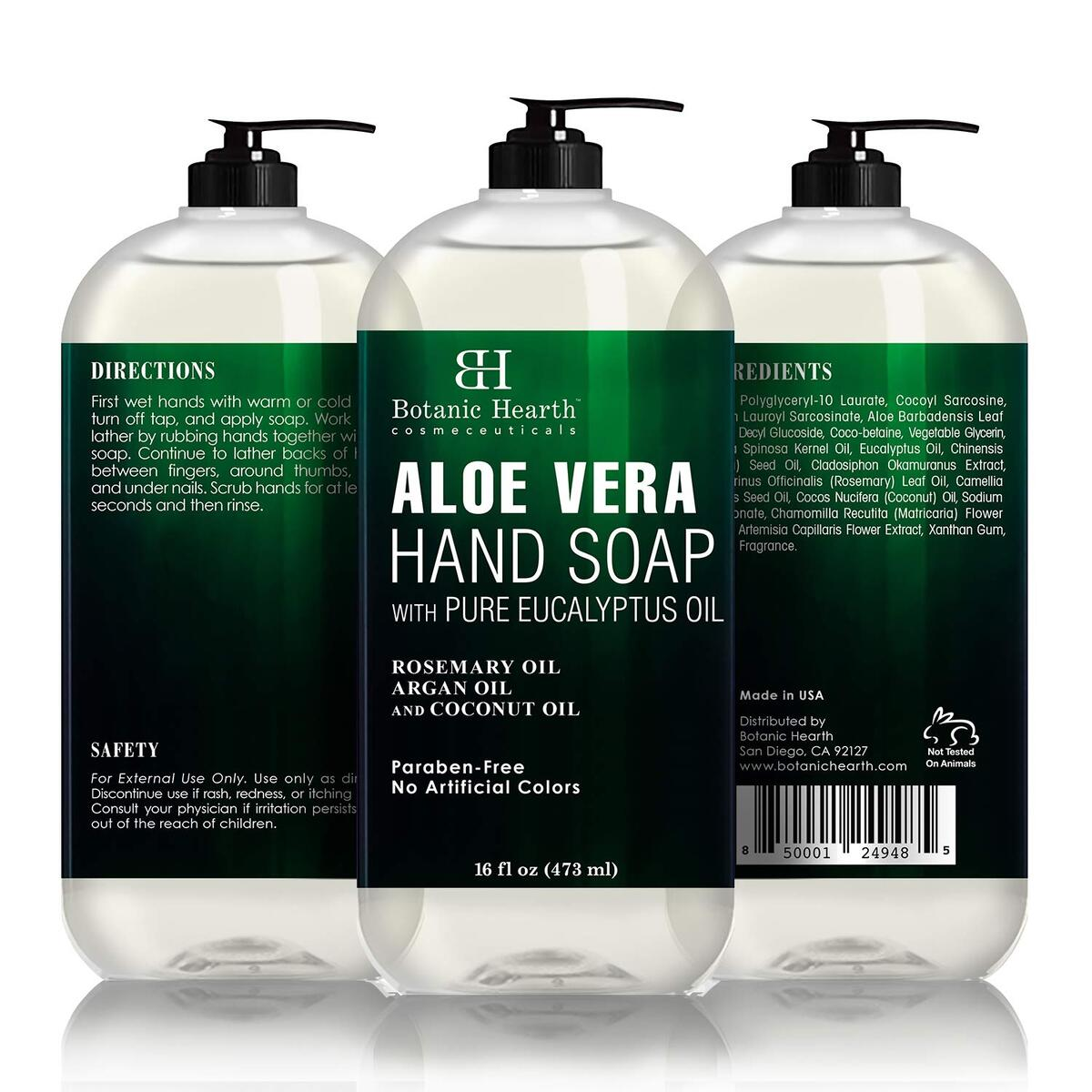 Aloe Vera Hand Soap with Eucalyptus Essential Oil - Liquid Hand Wash for Cleansing, Moisturizing, and Nourishing Hand & Body, 16 fl oz