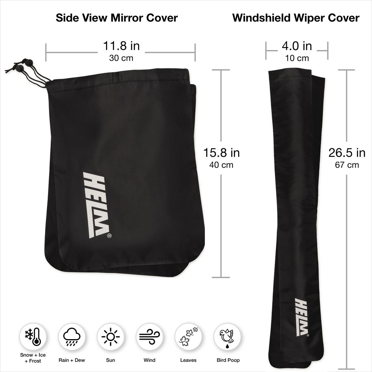 2 Pack Winter Wiper and Side Mirror Car Cover for Trucks, Cars and Vehicles. Protect from Ice Snow Frost Dew and Rain.