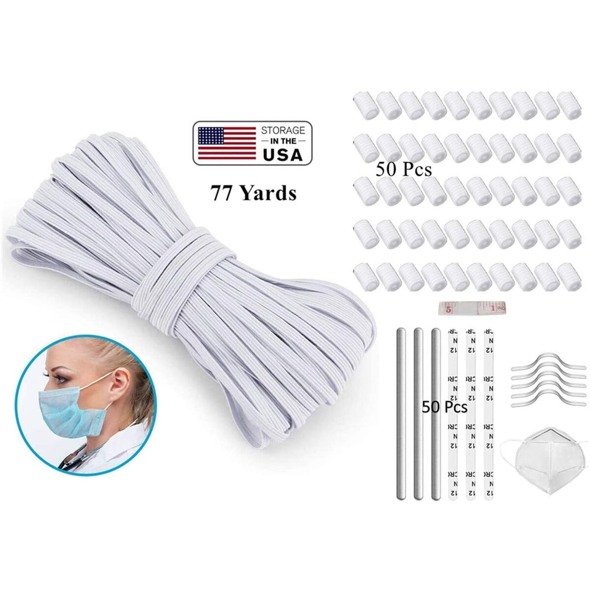 ARGIGU 77 Yards 1/8 inch Elastic Cords for Sewing Flat Braided Elastic with 50 Pieces Adjustable Buckles and 50 Pieces Nose Bridges for DIY Sewing and Crafting