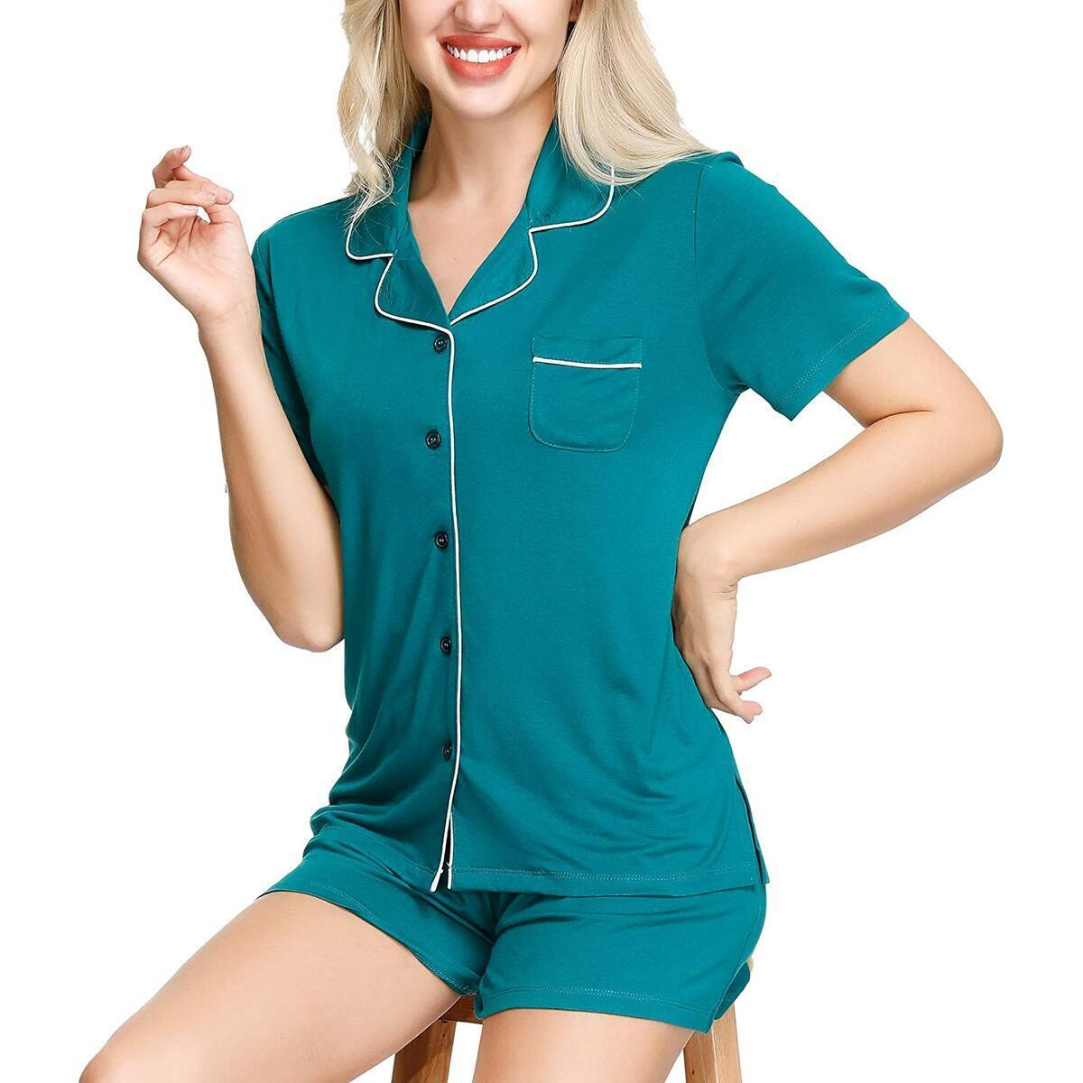 Women Pajama Shorts Set | Notch Collar Short Sleeve Buttons Sleepwear Soft Nightwear - All Colors and Sizes