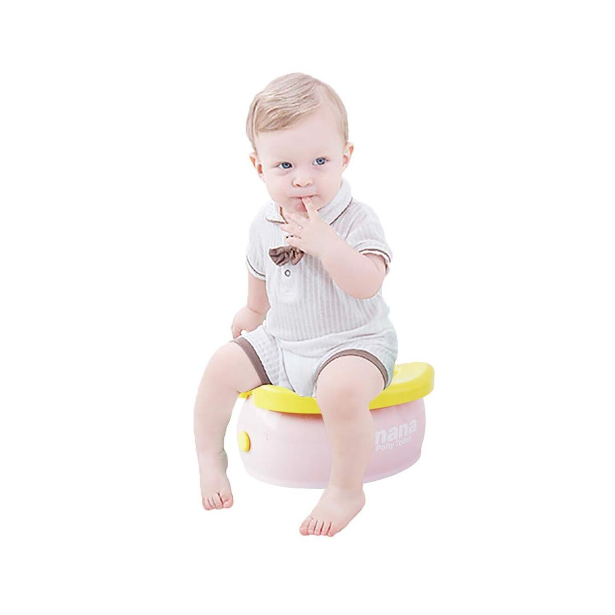 WISHTIME Potty Training Seat - Cute Banana Toilet Seat Trainer Portable Foldable Potty for Kids Boys Girls Children Toddlers (Pink)