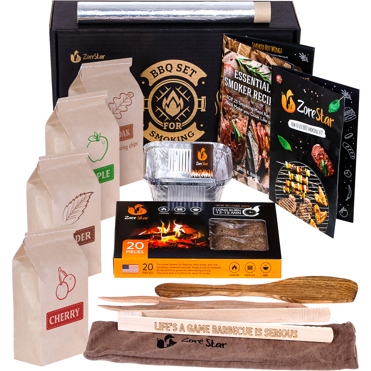 Grill cooking set for smoking: wood chips variety /smoker box / BBQ tools and other grilling accessories