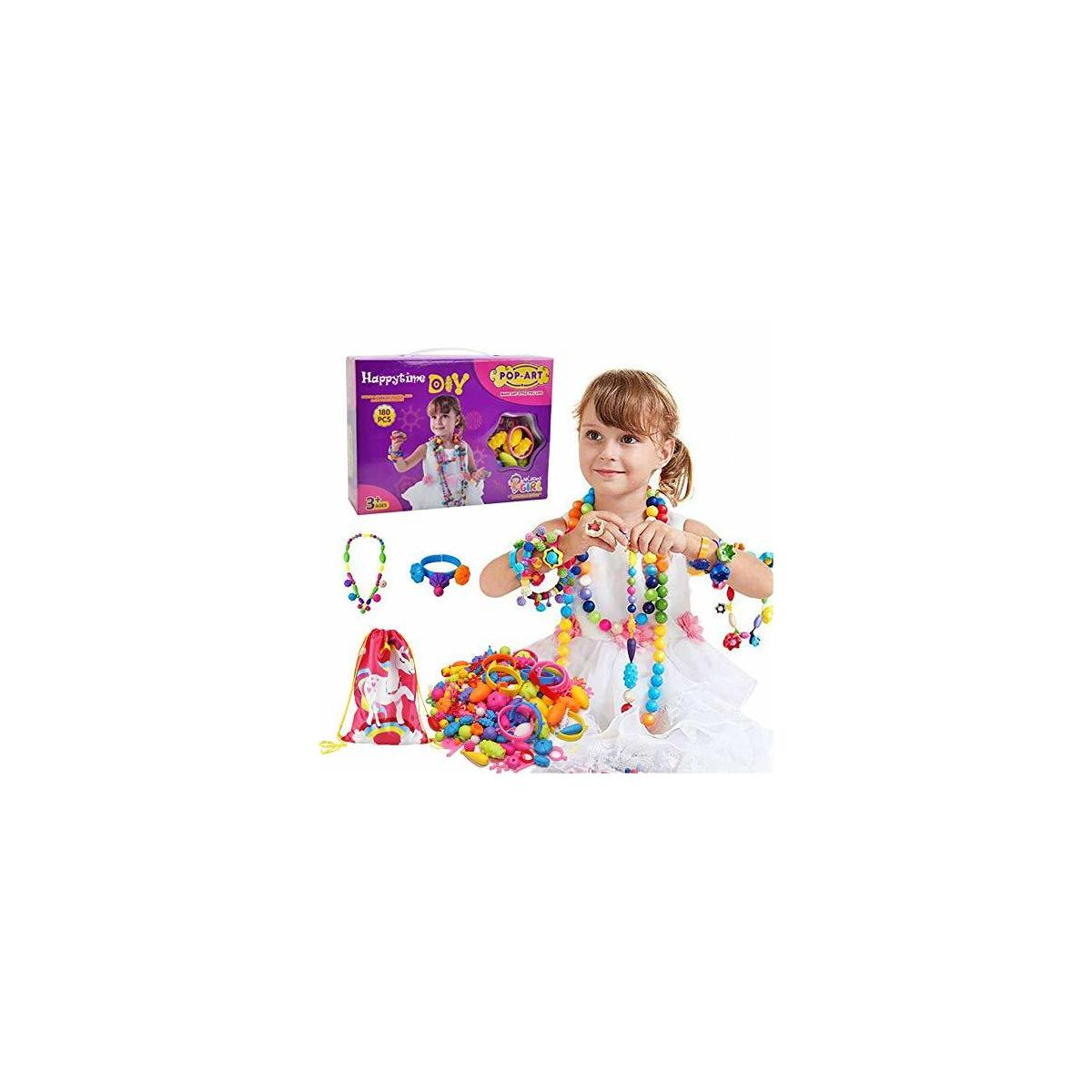 Happytime Snap Pop Beads Girls Toy 180 Pieces DIY Jewelry Kit Fashion Fun for Necklace Ring Bracelet Art Crafts Gifts Toys for 3, 4, 5, 6, 7 ,8 Year Old Kids Girls