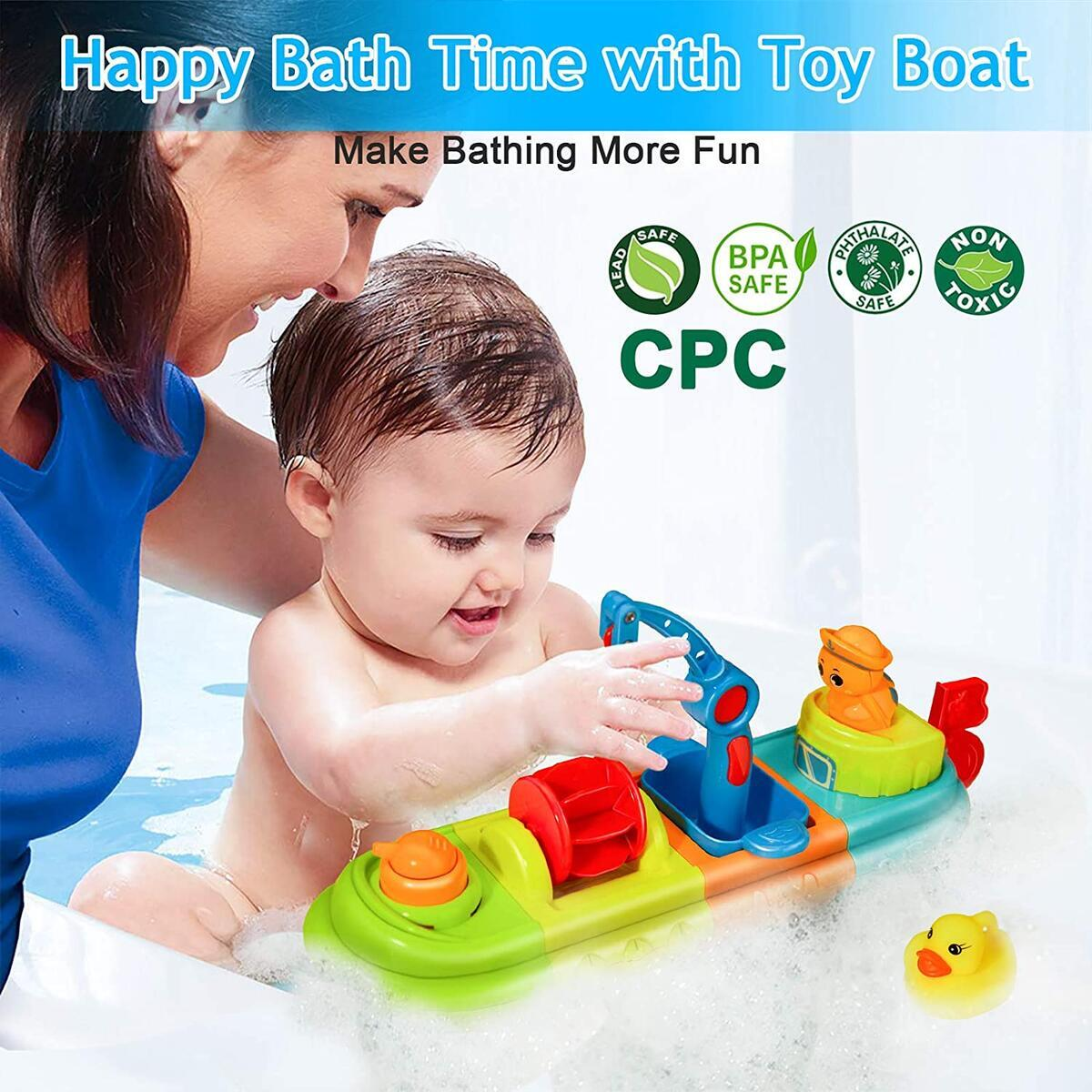 LBLA Baby Bath Toys for Toddlers 1-3, Fun Kids Bathtub Toys for Girls and Boys, Wind Up Toy Boat for Water Play Spray Toys for Kids with Duck and Turtle