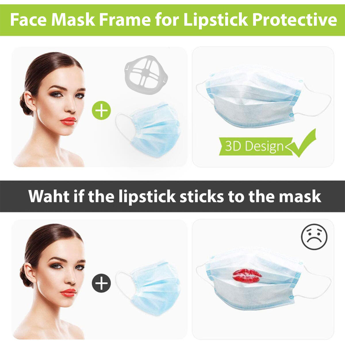 3D Face Mask Inner Support Frame (4pcs) - Cool Silicone Mask Bracket - Protects your Makeup - More Space for Comfortable Breathing - Reusable