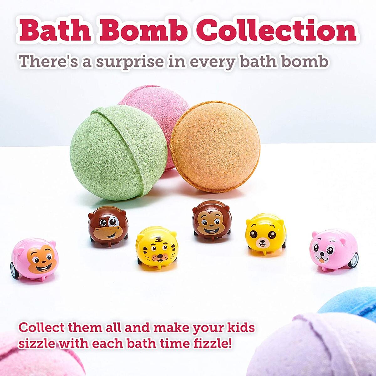 Bath Bombs for Kids with Surprise Toys Inside Cars Animals - Bubble Fizzies with Essential Oils - Multicolored Extra Large 3 Bath Bombs - Natural & Organic Ingredients Set for Boys Girls Handmade USA…