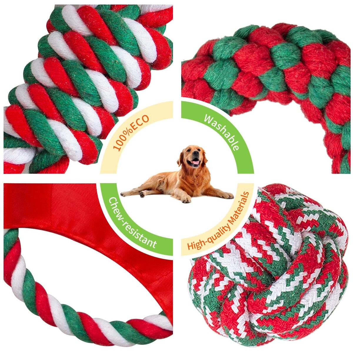 Puppy Teething Chew Toys, 5 Packs Cotton Indestructible Rope Dog Toy, Dog Chew Toys for Aggressive Chewers Large Breed Christmas Dog Stocking Stuffers Rope Toys for Small Medium Large Dogs