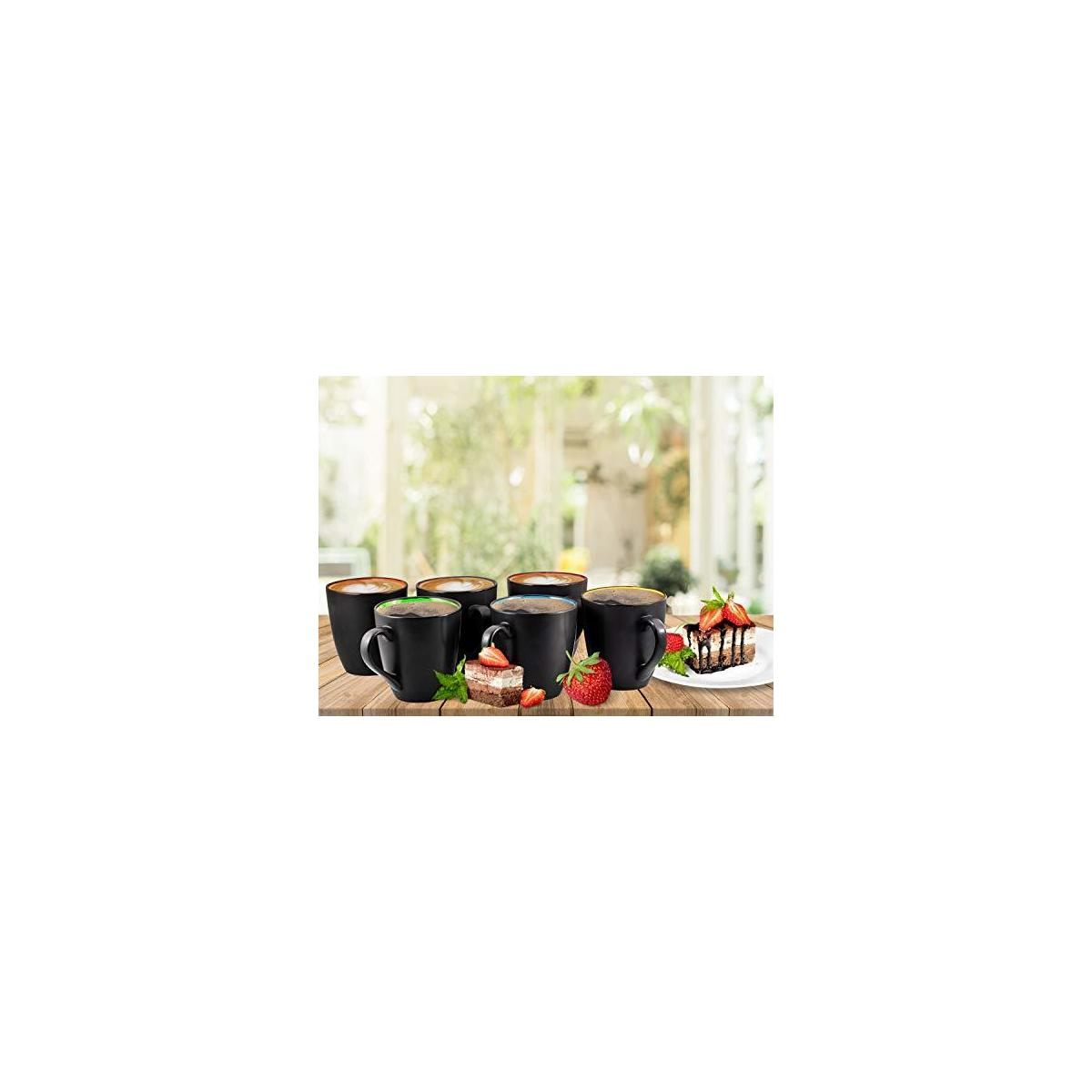 Coffee Mug Set Set of 6 Large-sized 16 Ounce Ceramic Coffee Mugs Restaurant Coffee Mugs By Bruntmor, Matte Black