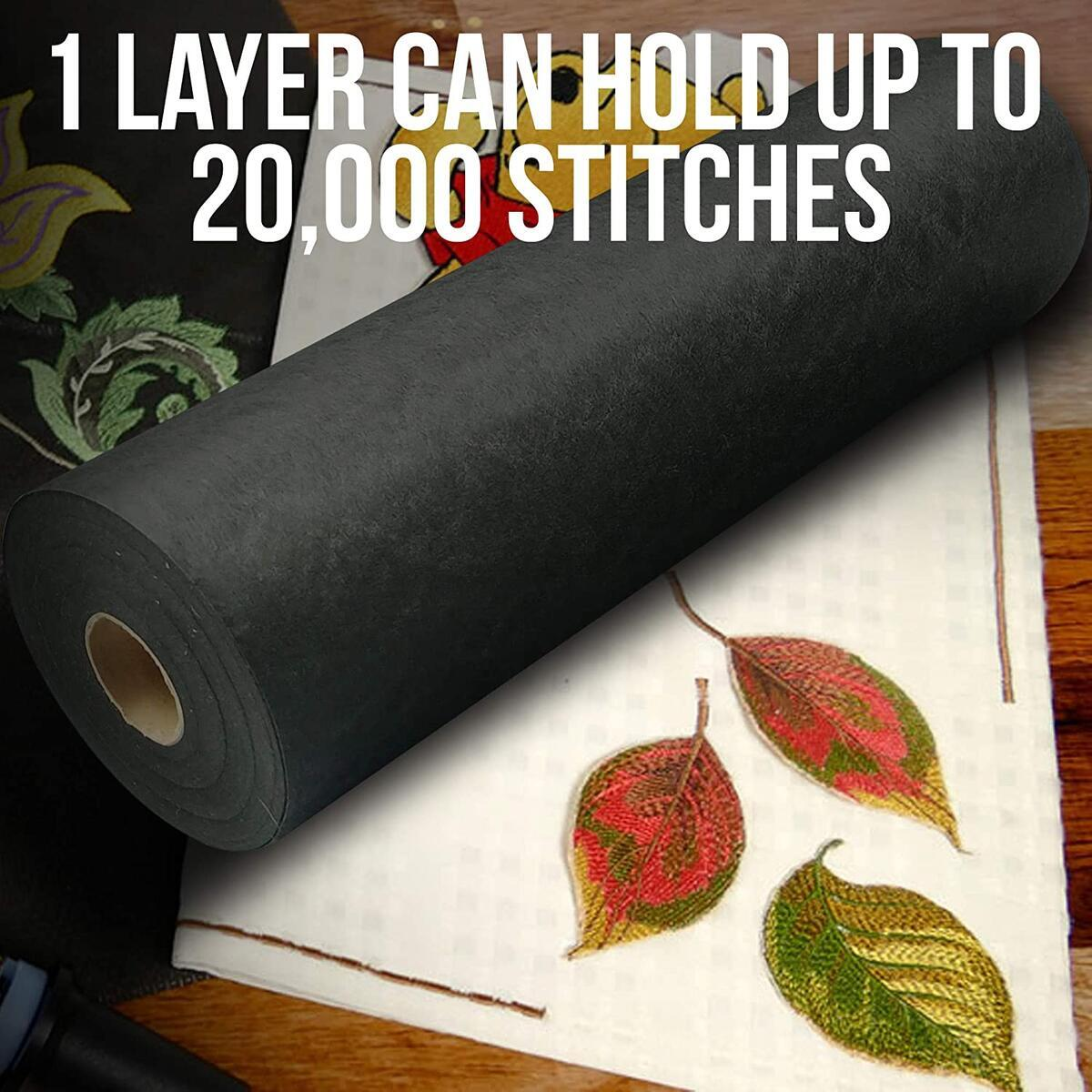 "[Premium] Cutaway Embroidery Stabilizer 15"" x 26 Yards, Cut-Away Stabilizer for Machine Embroidery with Free Pen & Scissors, Medium 70gsm Polymesh Stabilizer, Cut Away Embroidery Backing (Black)"