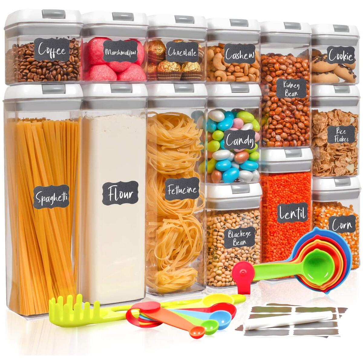 Dookeh Airtight Food Storage Containers with Lids, 14 Piece Kitchen Pantry Organization and Storage Set, Plastic Organizer Canister Sets for Kitchen Counter, Great for Flour Sugar Coffee Cereal Pasta