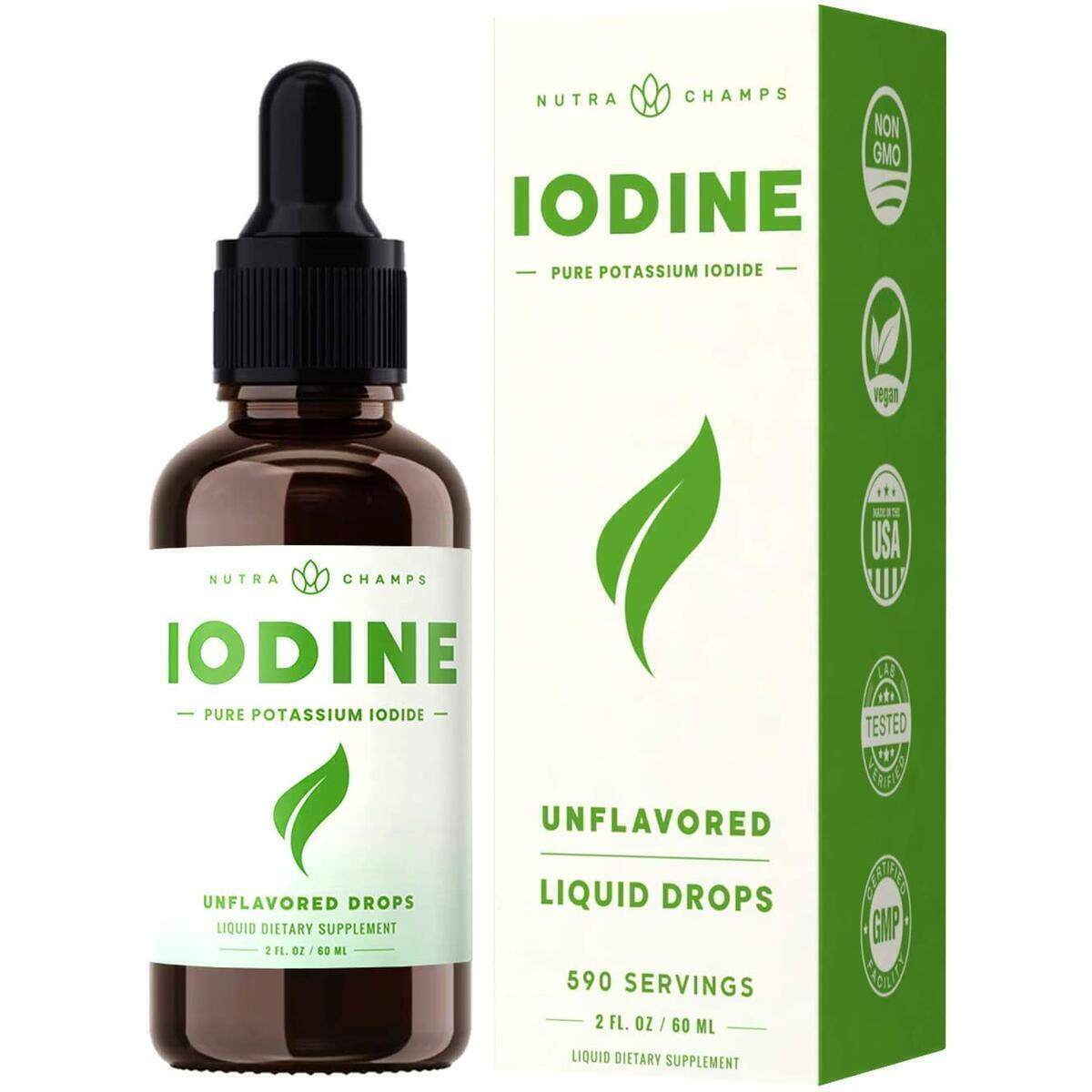 Iodine Drops [Double Size] Vegan Liquid Supplement - Healthy Thyroid, Hormones & Weight - Tasteless Solution, Better Absorption Than Pill, Tablet or Powder - 2oz Tincture 590 Servings