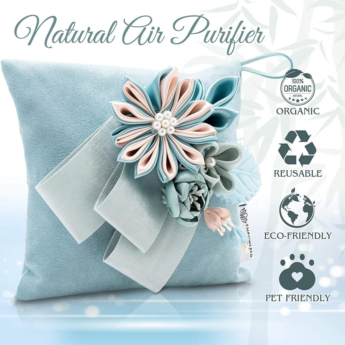 Bamboo Charcoal Air Purifying Bags - Odor Absorbers for Home - Activated Bamboo Charcoal Pouches with All-Natural Pet Friendly Materials - Set of 2 - 250g of Activated Charcoal in Each Bag